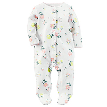 美國 Carter / Carters 嬰幼兒秋冬包腳連身衣_白色花園_CTSPG004