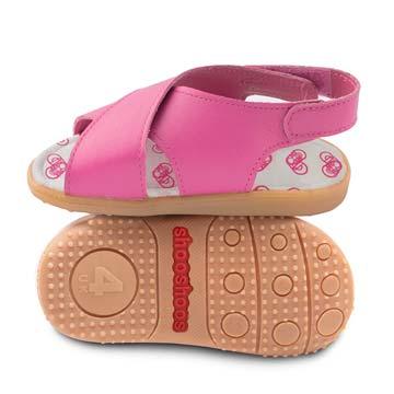 英國 shooshoos 安全無毒真皮健康手工鞋/學步鞋/童鞋_桃紅交叉涼鞋
